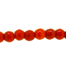 Gekleurd Turquoise kraal, rond, oranje, 4 mm (streng)