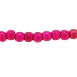 Gekleurd Turquoise kraal, rond, roze, 3 mm (streng)