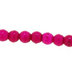 Gekleurd Turquoise kraal, rond, roze, 4 mm (streng)