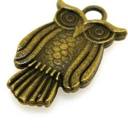 Metaal, hanger/bedel, antique goud, uil, 28 mm (3 st.)