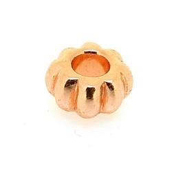 Metalen kraal, rond, ros goud, 6 x 12 mm, groot rijggat van ca. 4 mm (5 st.)