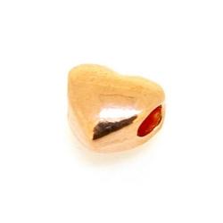 Metalen kraal, hart, ros goud, 12 x 10 mm, groot rijggat van ca. 4 mm (3 st.)
