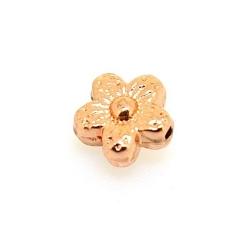 Metalen kraal, bloemetje, ros goud, 8 mm (10 st.)