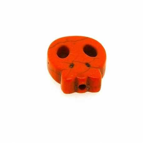 Gekleurd Turquoise kraal, skull, oranje, 16 mm (5 st.)