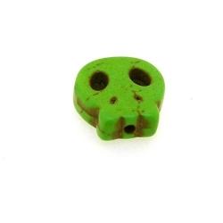 Gekleurd Turquoise kraal, skull, groen, 16 mm (5 st.)
