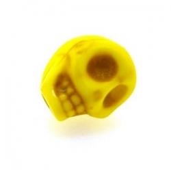 Gekleurd Turquoise, kraal, skull, geel, 10 mm (5 st.)