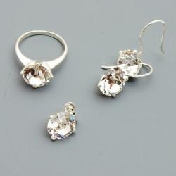 Hanger, ring (16) en oorbellen, zilver met Swarovski (1 set)