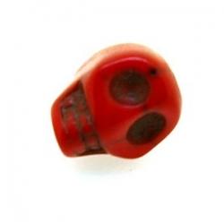 Gekleurd Turquoise kraal, skull, rood, 14 mm (5 st.)