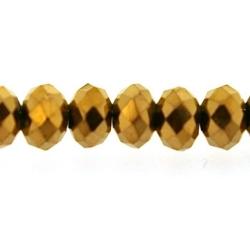 Glaskraal, donut met facetten, goud, 3 x 4 mm (1 streng)