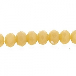 Glaskraal, donut met facetten, peache, 3 x 4 mm (streng)