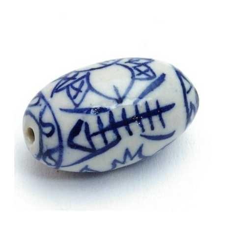 Keramiek kraal, ovaal, visgraat, Delfts blauw, 27 mm (1 st.)