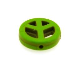 Gekleurd Turquoise, hanger, Peace teken, groen, 24 mm (3 st.)