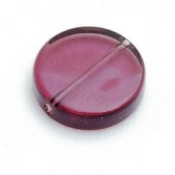 Glaskraal, rond (plat), bordeaux, 15 x 5 mm (6 st.)