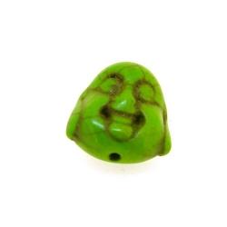 Gekleurd Turquoise kraal, boedha, dubbelzijdig gezicht, groen, 15 mm (5 st.)