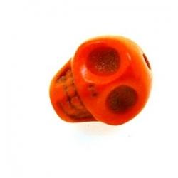 Gekleurd Turquoise kraal, skull, oranje, 14 mm (3 st.)