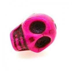 Gekleurd Turquoise kraal, skull, roze, 14 mm (3 st.)