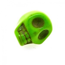 Gekleurd Turquoise kraal, skull, groen, 14 mm (3 st.)