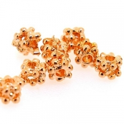 Metalen kraal, blokje, ros goud, 3 mm (50 st.)