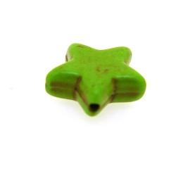 Gekleurd Turquoise kraal, ster, groen, 16 mm (5 st.)