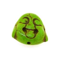 Gekleurd Turquoise kraal, boedha, dubbelzijdig gezicht, groen, 20 mm (3 st.)