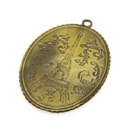 Metaal, hanger, ovaal, Eiffeltoren, antique goud, 54 x 40 mm (1 st.)