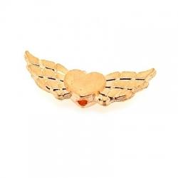 Metalen kraal, vliegend hart, ros goud, 6 x 22 mm (5 st.)