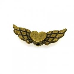 Metalen kraal, vliegend hart, antique goud, 6 x 22 mm (5 st.)