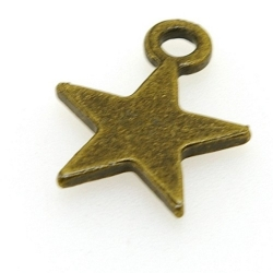 Metaal, bedel, ster, antique goud, 22 mm (5 st.)