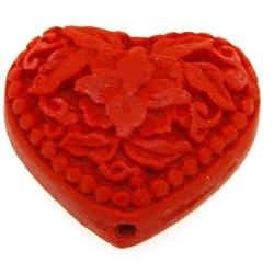 Cinnabar kraal hart rood 26 mm (3 st.)