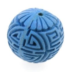 Cinnabar kraal rond blauw ca. 14 mm (5 st.)