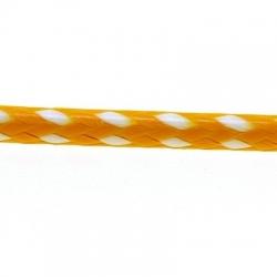 Koord, rond, geel/wit, 2 mm (1 mtr.)