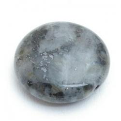 Halfedelsteen kraal rond plat zwart 18 mm (5 st.)