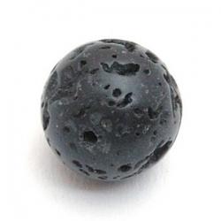 Lava kraal rond zwart 14mm (5 st.)