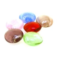 Glaskraal, rond (plat), mix, zilverfolie, 16 mm (streng)