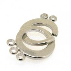 Slotje, 'in elkaar', zilver, 3 oogjes aan ELK deel, 15 mm (1 st.)