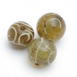 Halfedelsteen kraal, Jade, rond, gecarved, groen/bruin, 12 mm (5 st.)