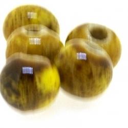 Keramiek kraal, rond, mosterdgeel, 6 mm (10 st.)