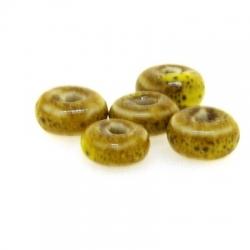 Keramiek kraal, disc, mosterdgeel, 4 x 8 mm (10 st.)