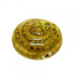 Keramiek kraal, rond (plat), mosterdgeel, 24 mm (3 st.)