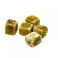 Keramiek kraal, blokje, mosterdgeel, 10 mm (5 st.)