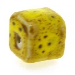 Keramiek kraal, blokje, mosterdgeel, 6 mm (10 st.)