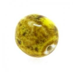 Keramiek kraal, rond, mosterdgeel, 14 mm (5 st.)