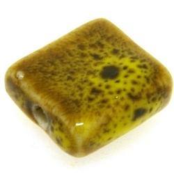 Keramiek kraal, vierkant, plat, mosterdgeel, 16 mm (5 st.)