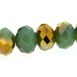 Glaskraal, disc met facetten, groen/goud, 6 x 8 mm (streng)