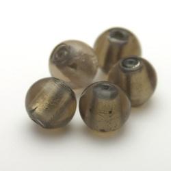 Glaskraal, rond, grijs met zilverfolie, 14 mm (5 st.)