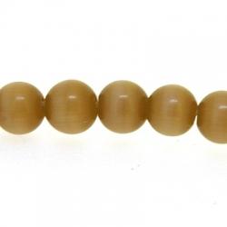 Catseye kraal rond lichtbruin 4 mm (streng)