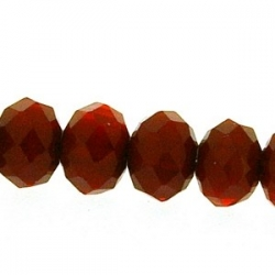Facetkraal, donut, rood, 6 x 8 mm (streng)
