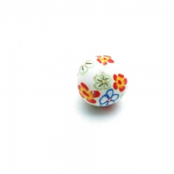 Fimokraal, rond, wit met bloemetje, 16 mm (3 st.)