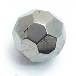 Glaskraal, rond met facetten, zilver, 16 mm (5 st.)