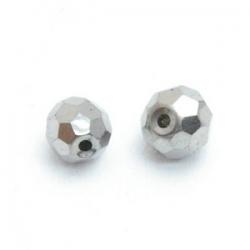 Glaskraal, rond met facetten, zilver, 6 mm (10 st.)